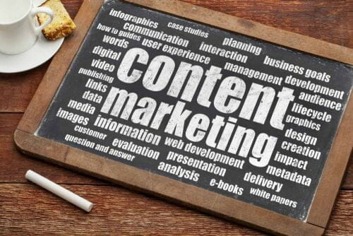 Tablica z napisem Content Marketing