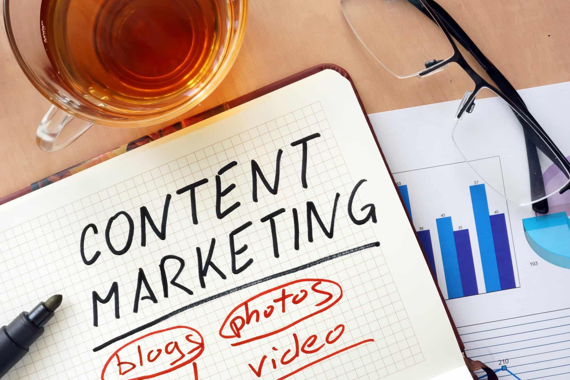 Content Marketing napisane markerem